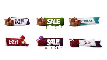 Large collection of discount banners with presents vector