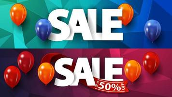 Set polygonal discount banners with large letters and balloons