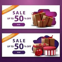 Two white discount banners with purple with gift boxes  vector