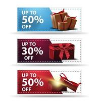 Setof  colorful horizontal discount banners  vector