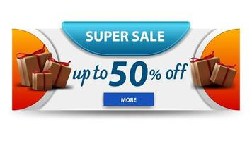 Super sale horizontal white discount banner with gifts