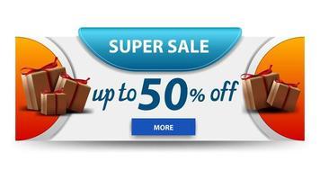 banner de descuento blanco horizontal super venta con regalos