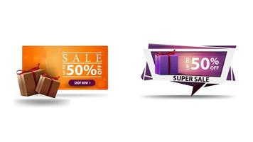 Discount 3D banners with presents boxes set