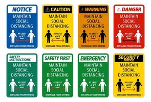 Maintain Social Distancing At Least 6 Ft Sign Collection vector