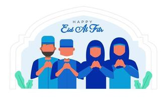 Banner for happy eid al fitr greeting  vector