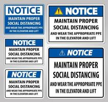 Notice Maintain Proper Social Distancing Sign Set vector