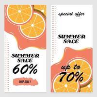 modello di progettazione delle insegne di vendita di estate con le fette arancio