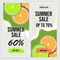 bannières de vente d'été avec des points abstraits et des fruits