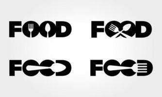 comida com conceito de logotipo de colher e um garfo vetor