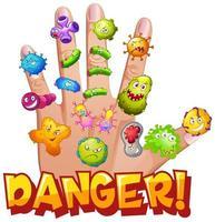 cartel de peligro con células de virus en la mano humana vector