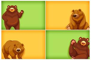 Background template set with cartoon grizzly bears vector