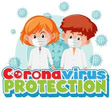 Coronavirus protection poster with children wearing masks  and virus cell