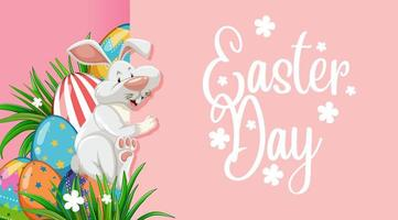 Easter Poster with Easter Bunny and Eggs vector