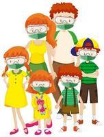 Cartel del tema del coronavirus con máscaras con familia