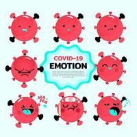 Dibujos animados emociones de bacterias coronavirus covid-19. vector