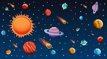estrellas y planetas en el espacio ultraterrestre vector