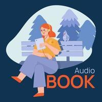 Mujer leyendo audiolibro con auriculares. vector