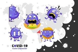 diseño de personaje covid-19 vector
