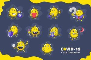 Cute Yellow Coronavirus Character Set