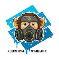 macaco vestindo máscara de gás
