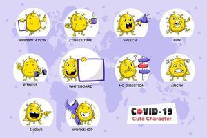Yellow Covid-19 Coronavirus Character Set