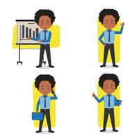 Set of African American Businessman Character vector