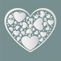Beautiful white paper cut the heart with white frame vector