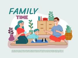 Family members spending quarantine together at home vector