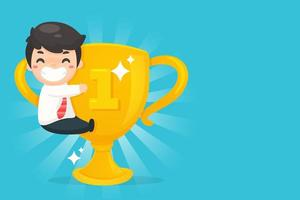 Small cartoon man hugging big first place trophy vector
