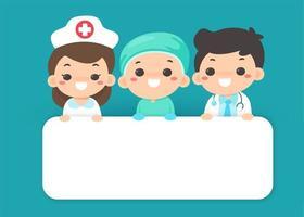 personale medico in stile cartone animato con cartello bianco