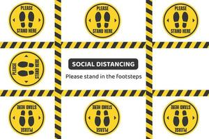 Caution tape and standing area social distancing design vector