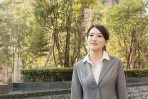 Asian business woman thinking in the city