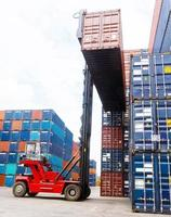 Forklift handling the container box photo