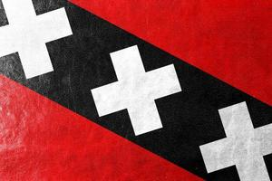 Amsterdam City Flag painted on leather texture