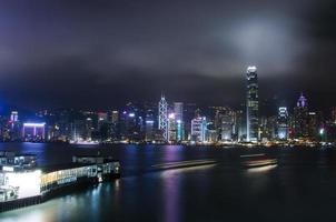 vista nocturna del paisaje urbano en hong kong foto