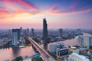 Landscape of River curved in Bangkok city downtown