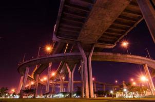 Twilight at Bhumibol Bridge in Samut Prakan, Thailand photo