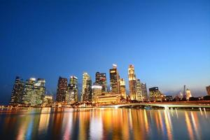 Singapore's financial district and Merlion photo