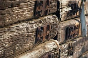 Wall from old railroad sleepers photo