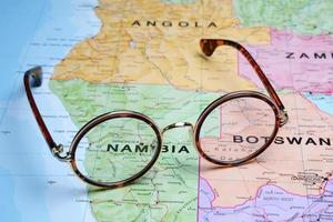 Glasses on a map - Windhoek photo