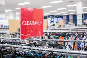 Clearance sign in store photo