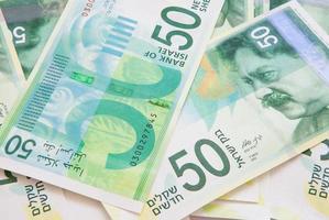 nuevas cincuenta notas de shekel foto