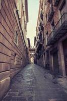 Aged street in Barcelona. Catalonia, Spain.