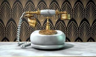 telefone em mármore e cena art déco