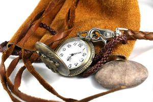 watch on the leather bag. photo
