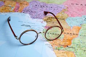 Glasses on a map - Gabon photo