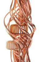 Copper wire with coils isolated on white background
