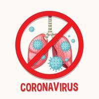 Fondo de coronavirus con células de virus en los pulmones vector