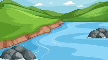 escena de fondo de colinas y río