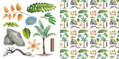 conjunto aislado de plantas de jardinería vector